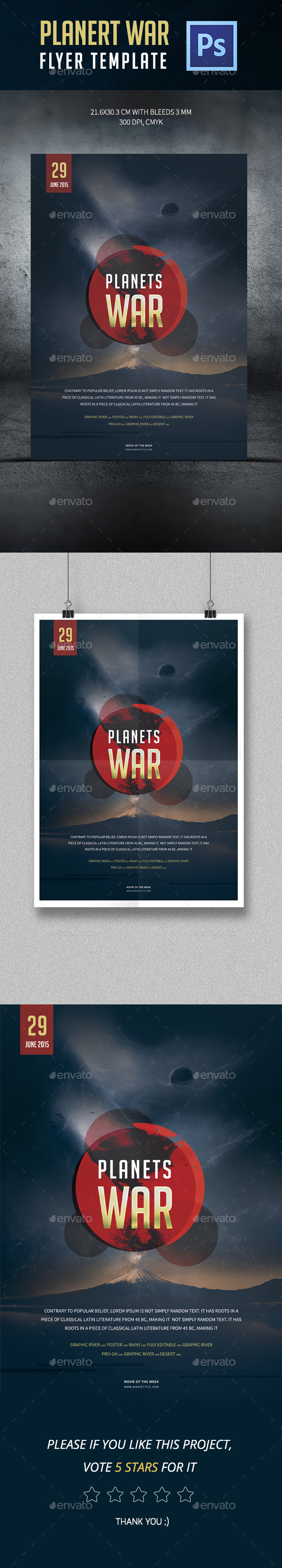 Planets War Poster Template - Events Flyers
