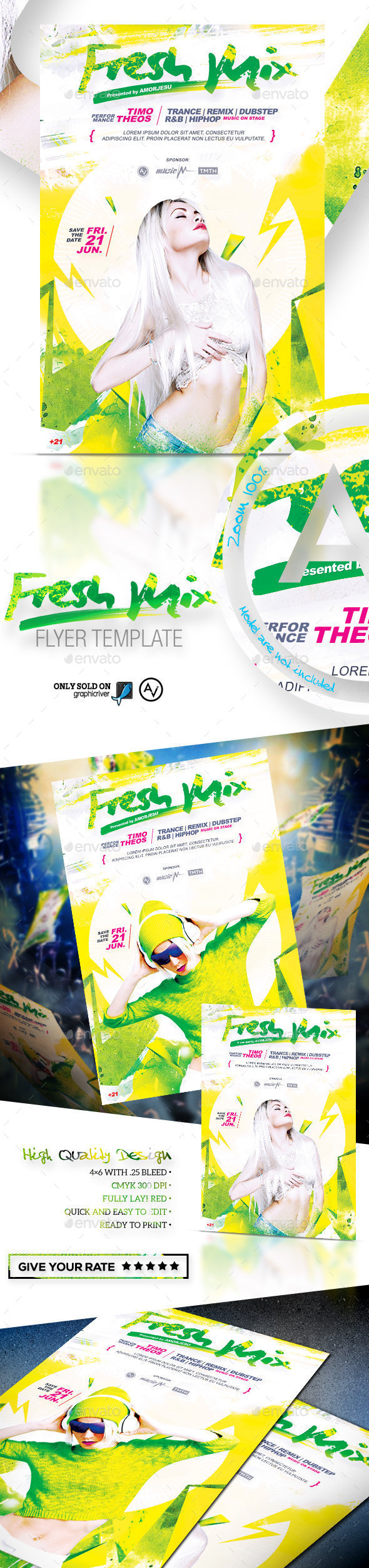 Fresh Mix Flyer Template - Clubs & Parties Events