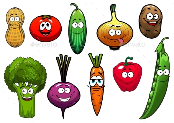 Healthy Fresh Cartoon Vegetables Characters - Food Objects