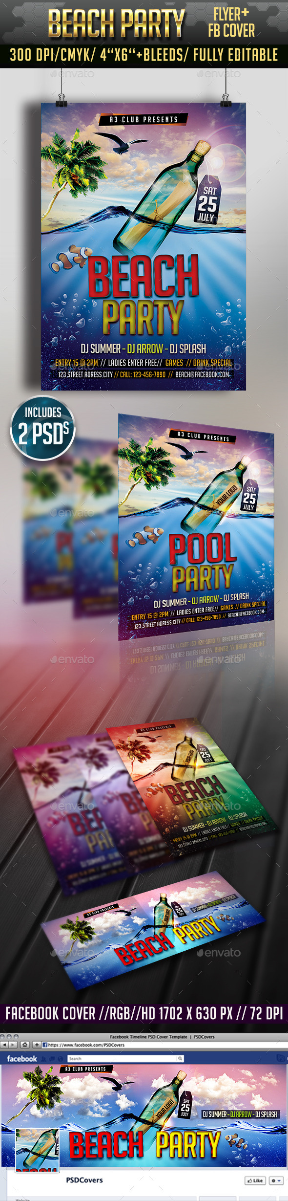 Beach Party Flyer + Facebook Cover - Clubs & Parties Events