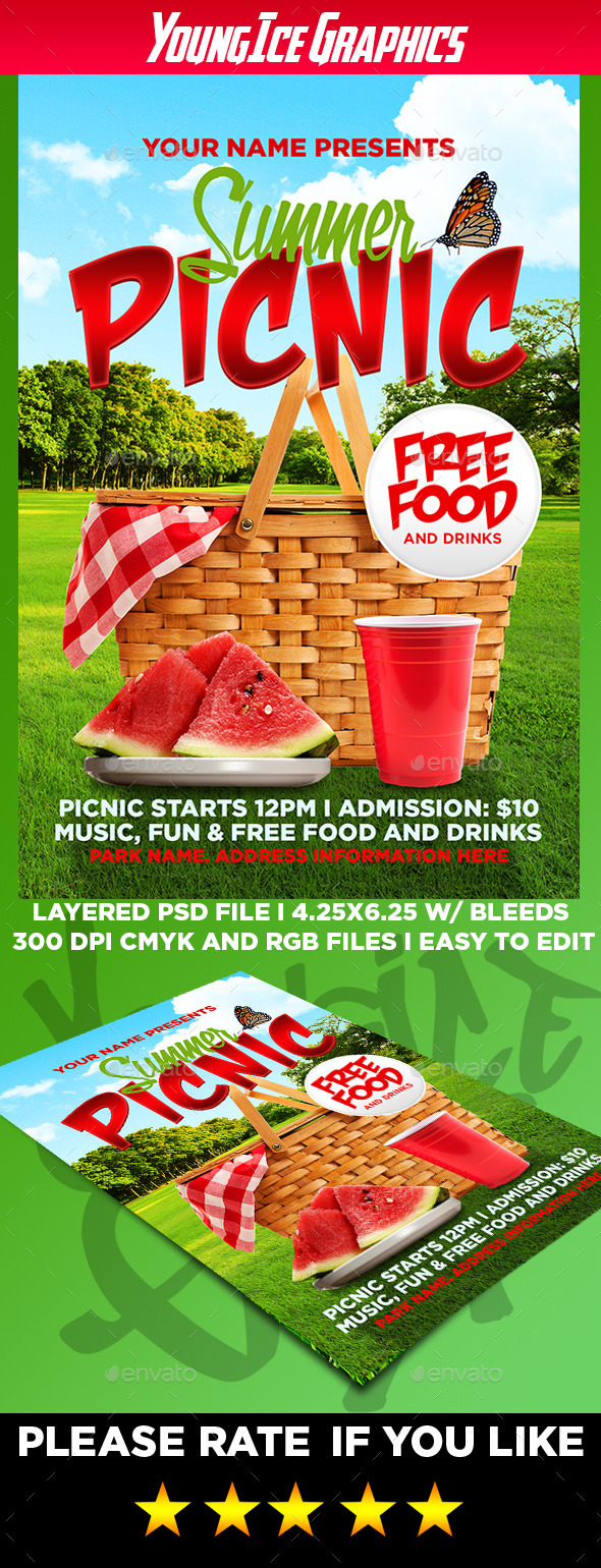 Captivating Summer Picnic Flyer Template   Events Flyers