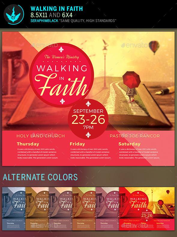 Walking In Faith Church Flyer Template   Church Flyers