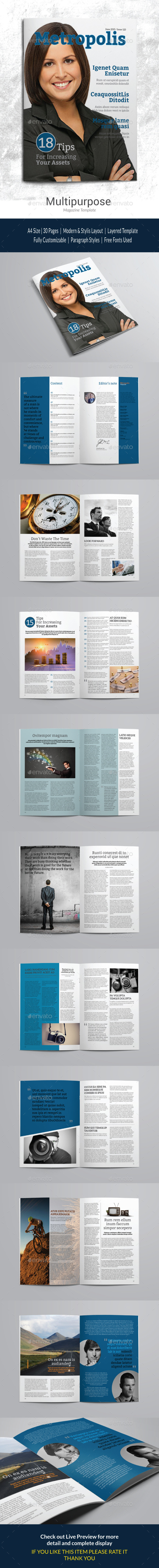 Indesign Magazine Template vol 1 - Magazines Print Templates