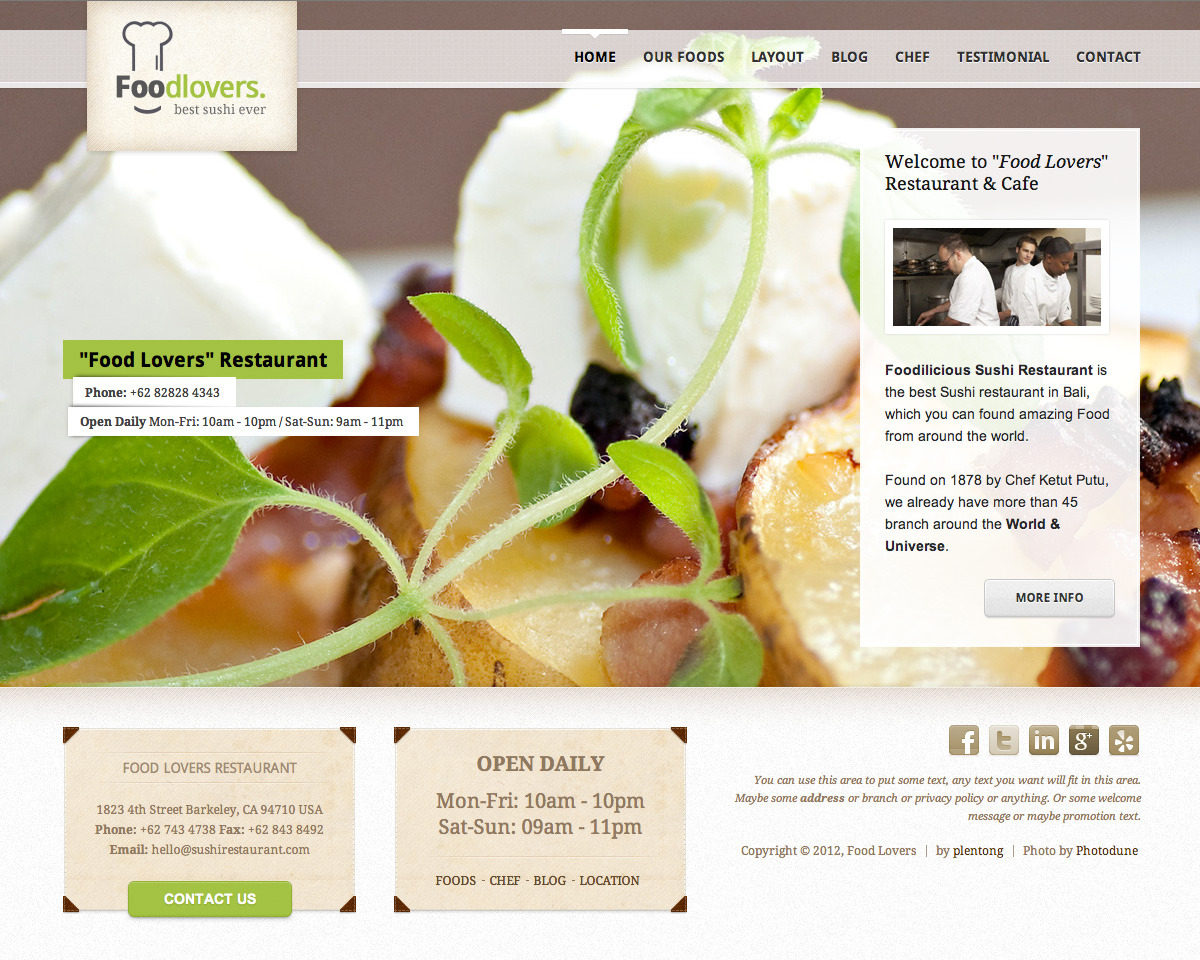 Foodlovers Restaurant Elite by plentong | ThemeForest