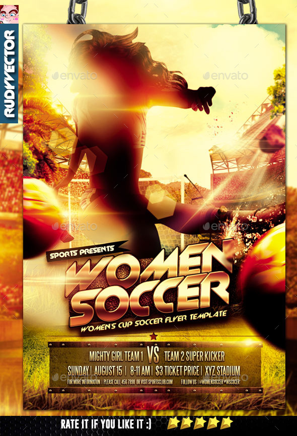 Women Soccer Cup Flyer Template - Sports Events