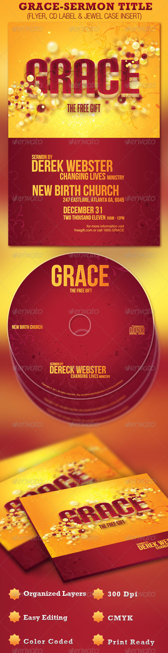 Grace Church Flyer and CD Template - Church Flyers