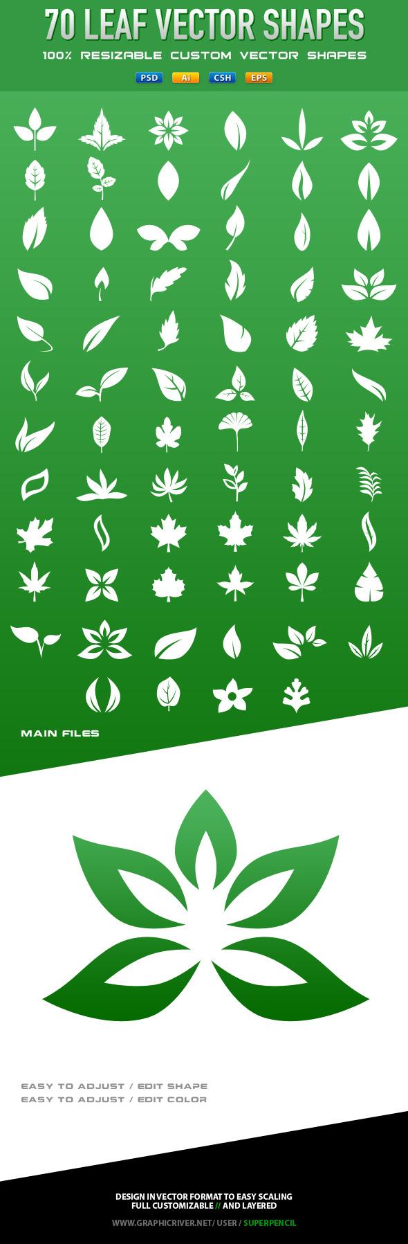 70 Vector Leafs - Symbols Shapes