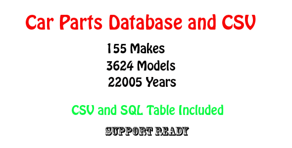 car parts database and csv - CodeCanyon Item for Sale