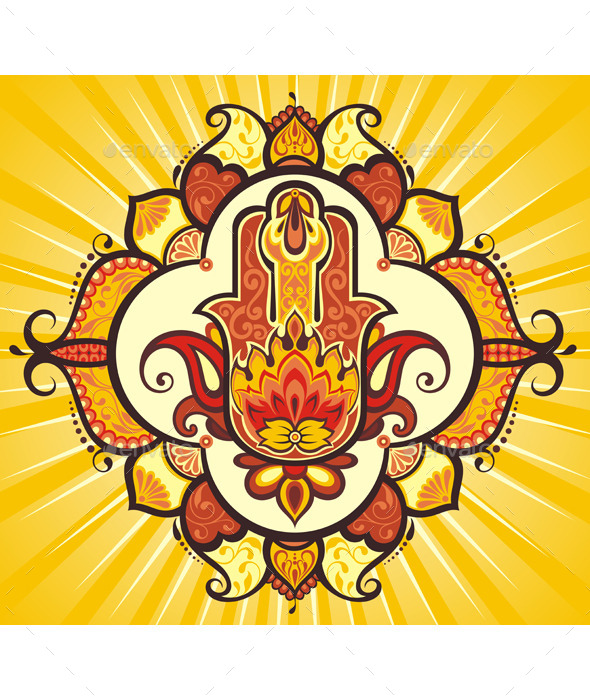 Hand Hamsa with Ethnic Ornaments - Backgrounds Decorative