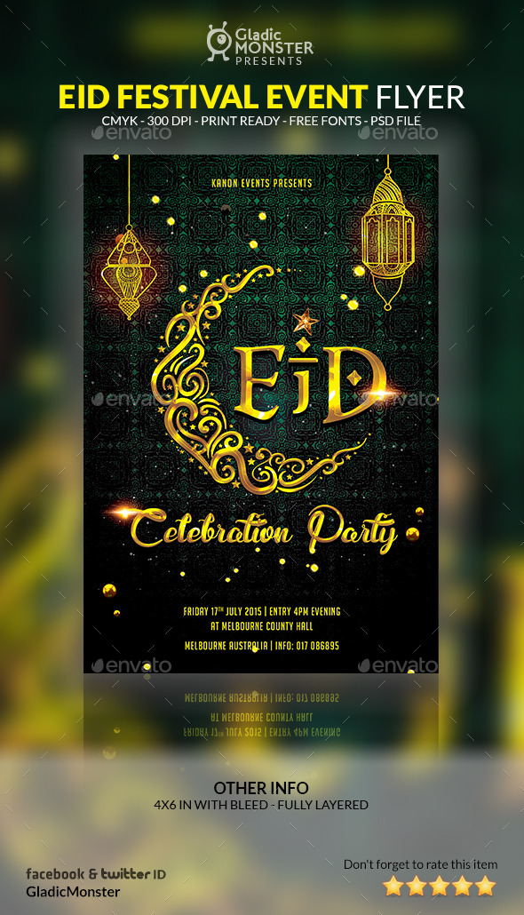 eid festival event flyer by gladicmonster