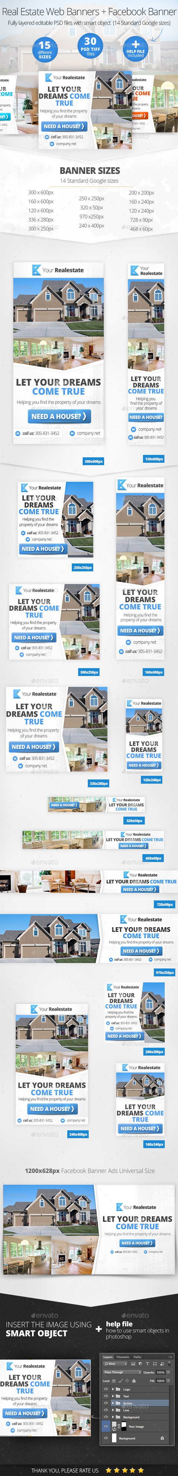 Real Estate Web & Facebook Banners - Banners & Ads Web Elements