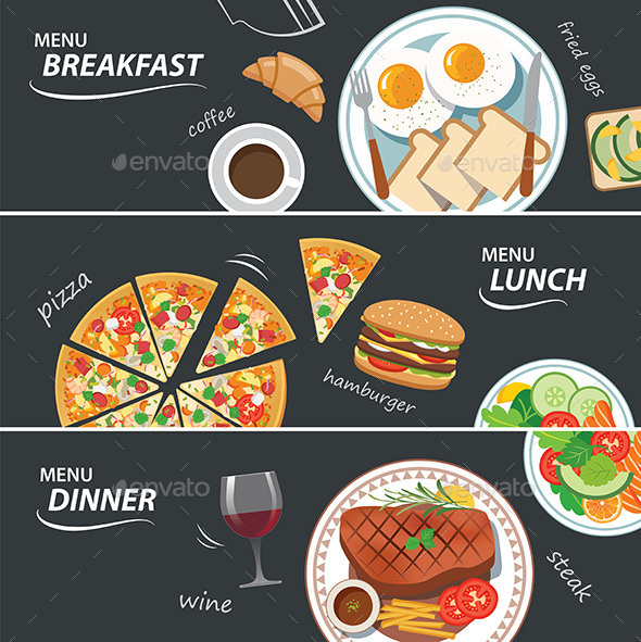Set of Breakfast Lunch and Dinner Web Banner - Food Objects