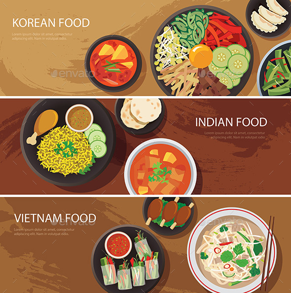 Asia Street Food Web Banner - Food Objects