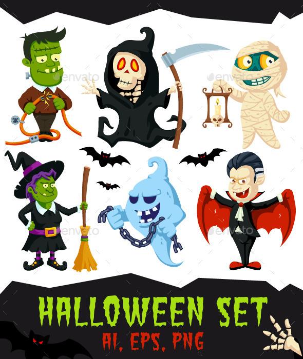 Halloween Flat Cartoon Characters Set - Halloween Seasons/Holidays