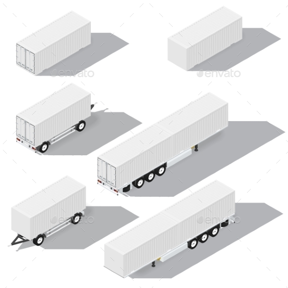 Shipping Containers and Trailers Isometric - Man-made Objects Objects