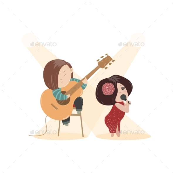 Woman Singing with a Microphone - People Characters