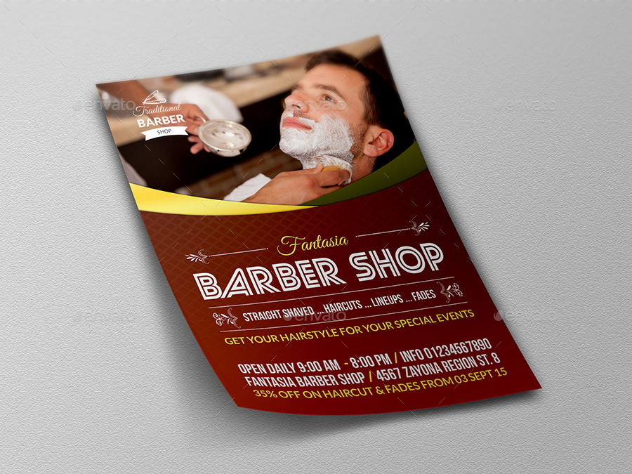 Barber Shop Flyer Template By Owpictures Graphicriver