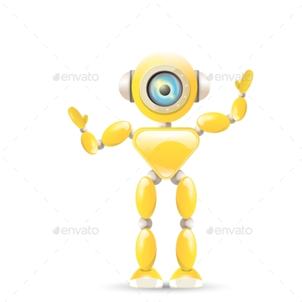 Orange Cartoon Robot - Miscellaneous Characters