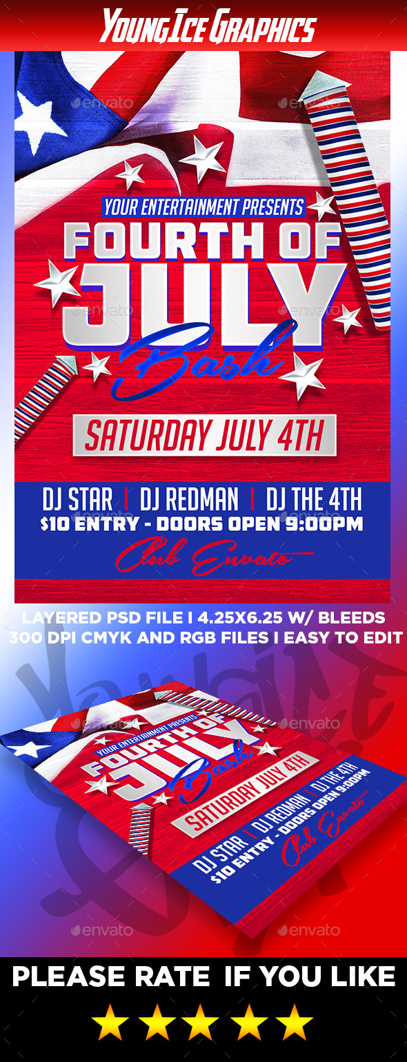 4th of July Bash Flyer Template - Clubs & Parties Events