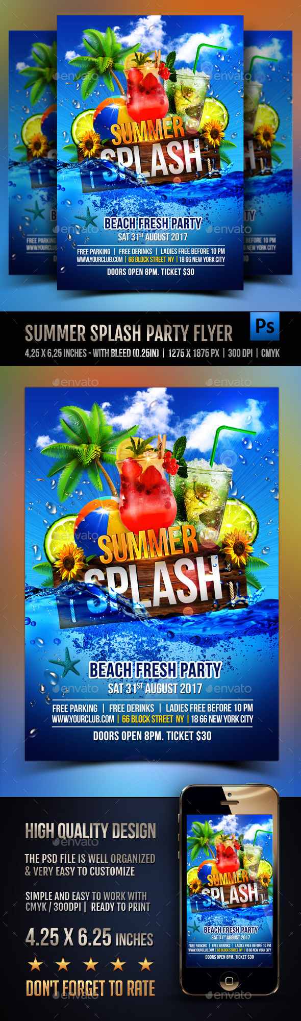 Summer Splash Cocktails Party Flyer - Clubs & Parties Events