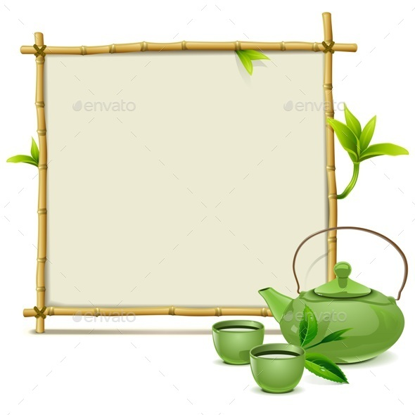 Bamboo Frame with Green Tea - Food Objects