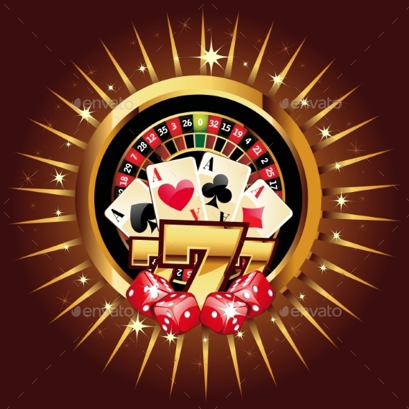 Casino Gold-Framed Composition - Web Elements Vectors