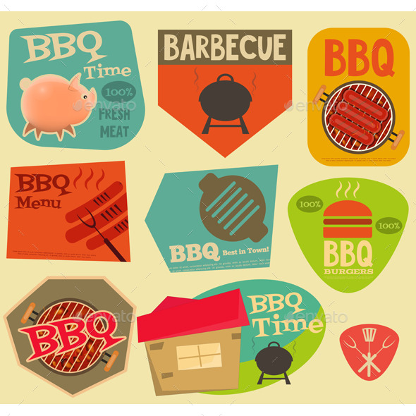 Retro BBQ Stickers Collection - Food Objects