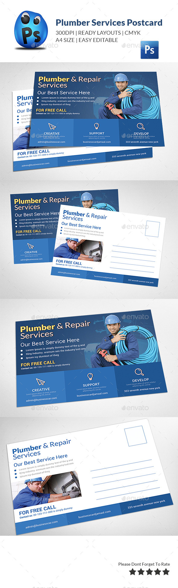 Plumber Service Postcard Template - Cards & Invites Print Templates