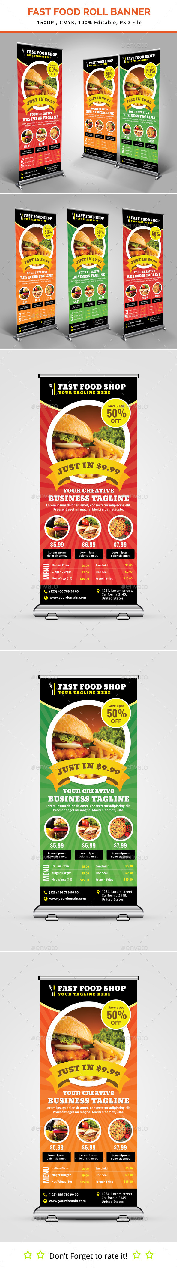 Fast Food Roll Up Banner - Signage Print Templates