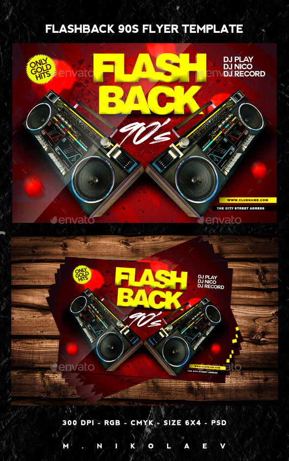 Flashback 90s Flyer - Clubs & Parties Events
