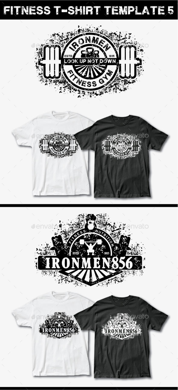 Fitness T-Shirt Template 5 - Grunge Designs