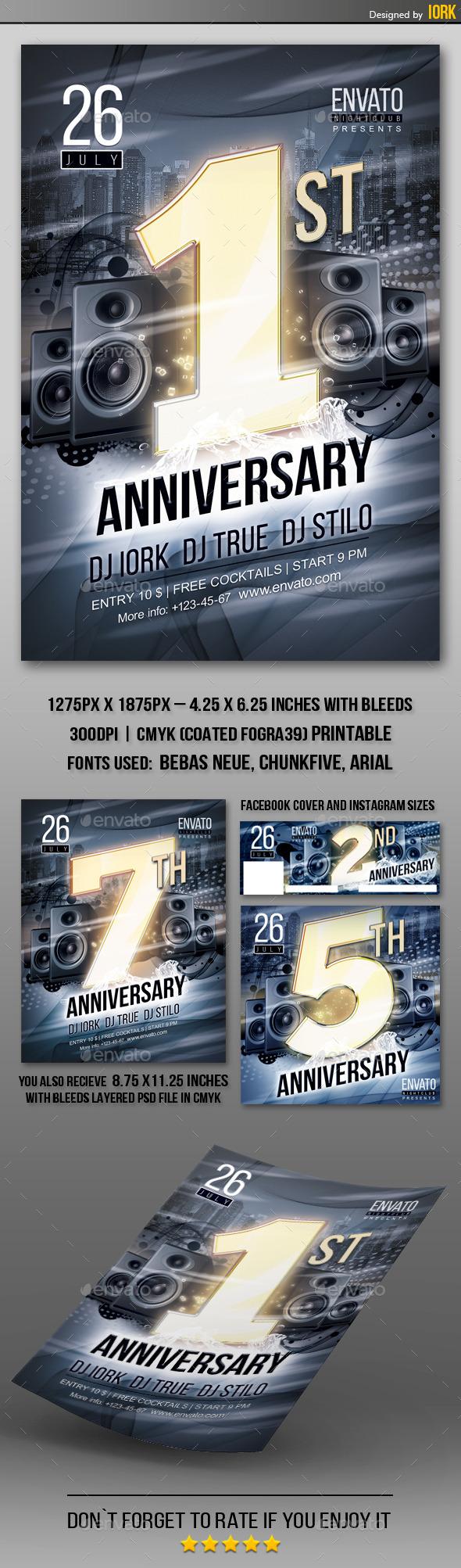 Anniversary Party Flyer  - Flyers Print Templates