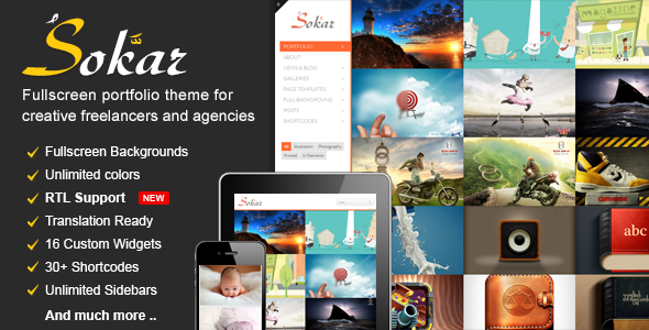 Sokar – Responsive Fullscreen Portfolio WordPress Theme