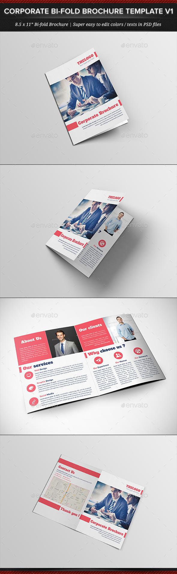 Corporate Business Bi-fold Brochure Template V1 - Corporate Brochures