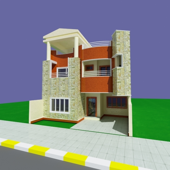 Pediment Modern House - 3DOcean Item for Sale