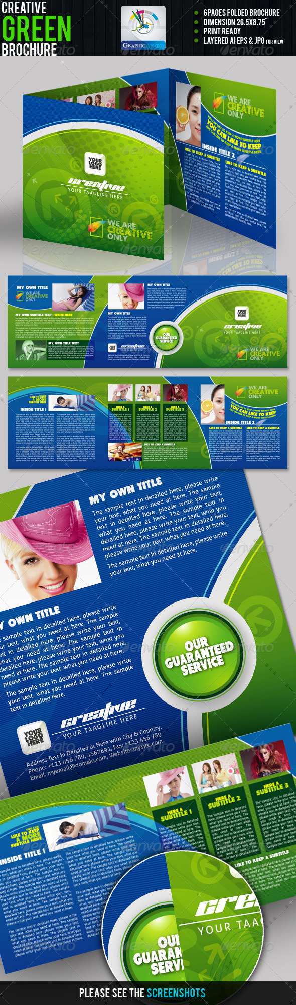 Creative Green Tri-fold Brochure - Corporate Brochures