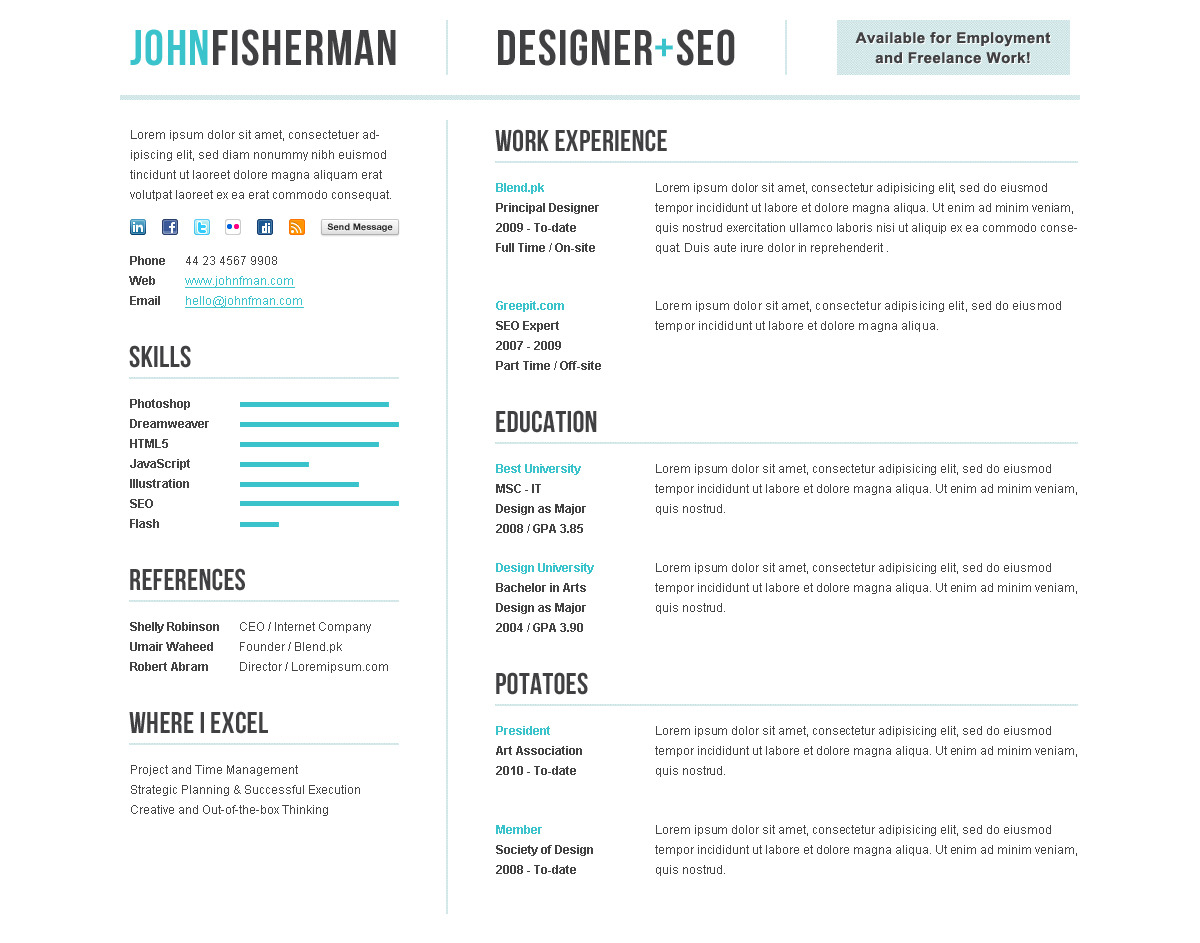 Elegant CV/Resume Premium Template by themesforce | ThemeForest