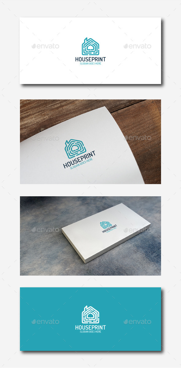 Fingerprint House Logo - Buildings Logo Templates