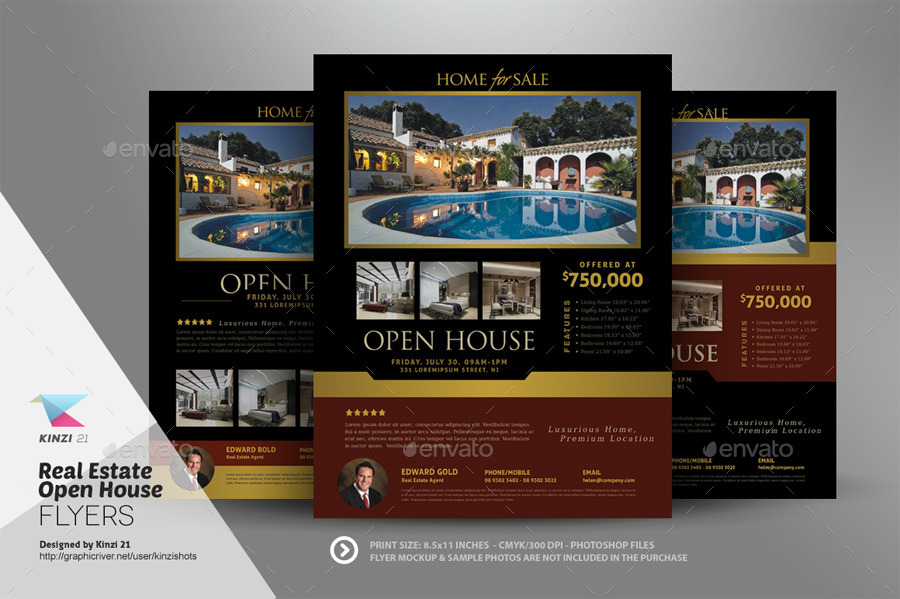 Real Estate Open House Flyer Templates by kinzishots GraphicRiver