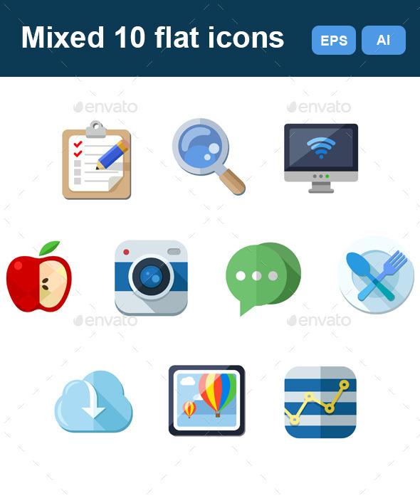 Mixed Flat 10 Icons Set - Technology Icons