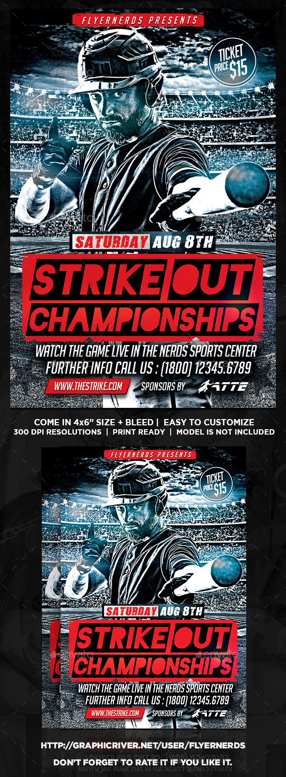 Baseball Strike Out Championships Sports Flyer - Sports Events
