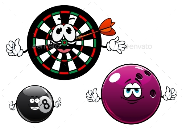 Cartoon Bowling, Billiard And Dartboard Characters - Sports/Activity Conceptual
