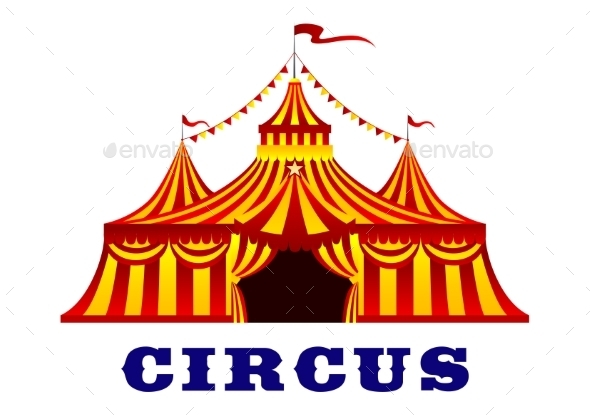 Circus Tent With Red And Yellow Stripes - Buildings Objects