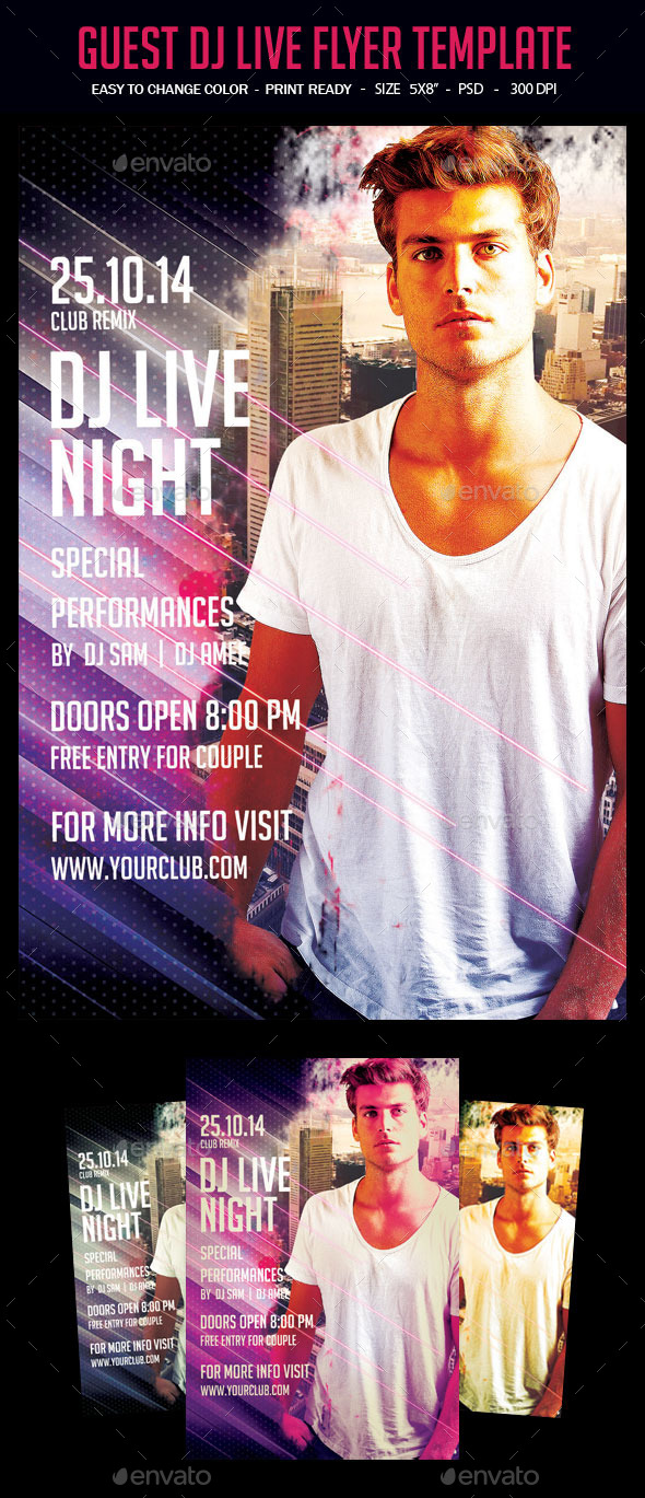 Guest Dj Live Flyer Template - Clubs & Parties Events