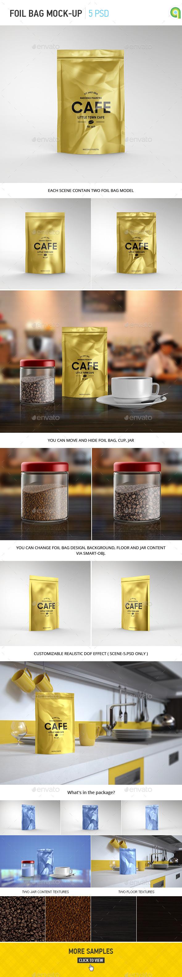 Foil Bag Pack Mockup - Food and Drink Packaging