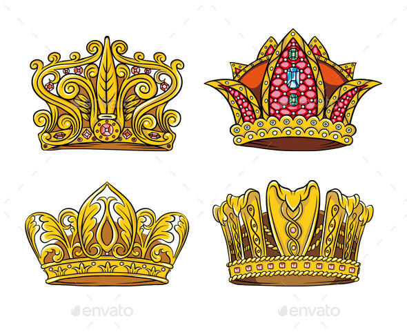 Four Royal Crown - Objects Vectors