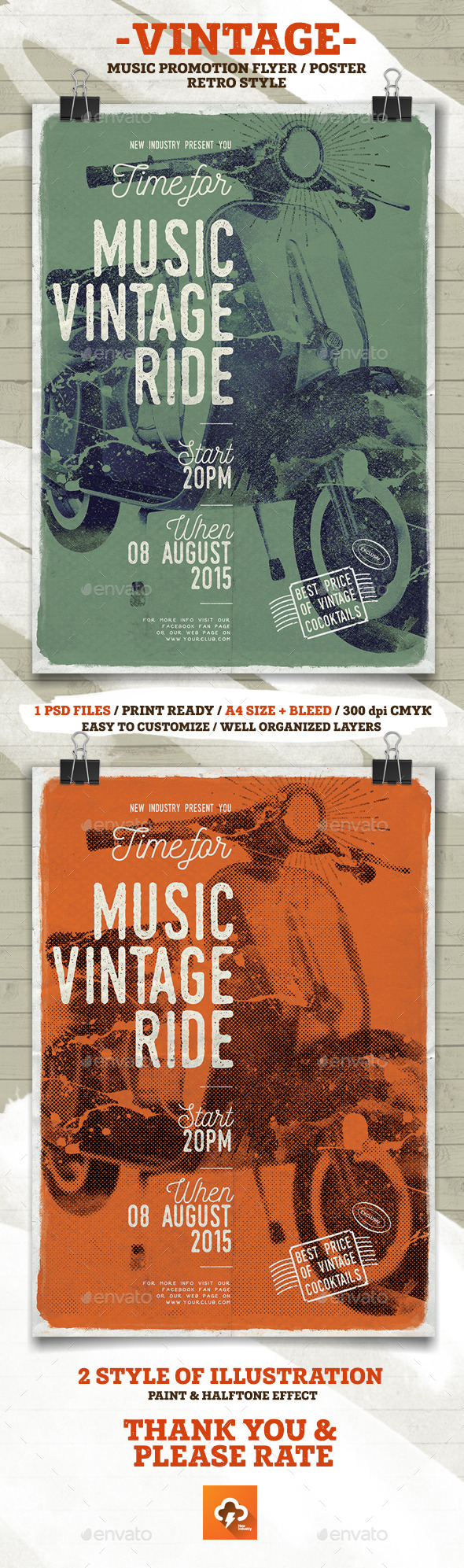 Music Vintage Ride Flayer/Poster - Events Flyers