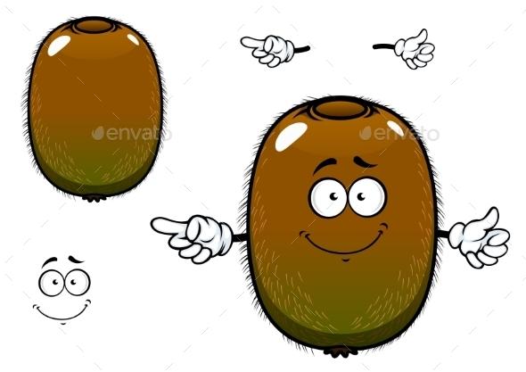 Fuzzy Kiwi Fruit Cartoon Character - Food Objects