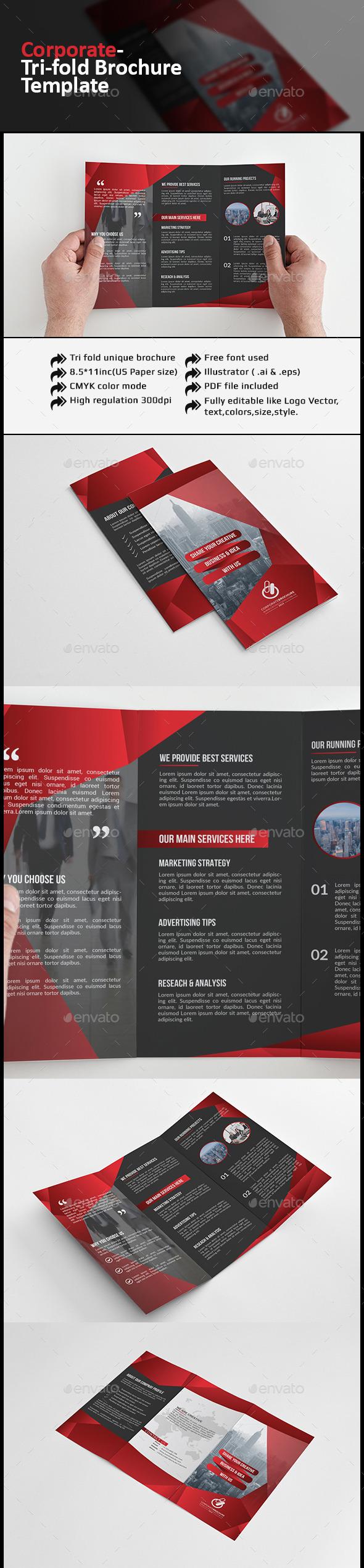 Red Corporate Tri-fold Brochure - Corporate Brochures