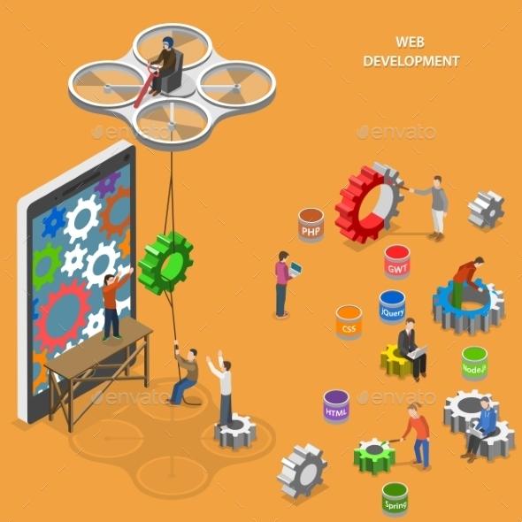 Web Development Flat Isometric Vector Concept. - Web Technology